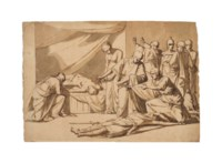 Roman senators and women mourning a dead couple, soldiers arresting the murderers to the right
