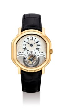 DANIEL ROTH. A UNIQUE AND VERY FINE 18K PINK GOLD BARREL-SHAPED DOUBLE-DIALED TOURBILLON WRISTWATCH WITH DATE AND 8 DAY POWER RESERVE AND CONCEALED EROTIC SCENE