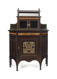 AN AESTHETIC MOVEMENT INLAID, PARCEL-GILT AND PART-EBONIZED CHERRYWOOD AND MAPLE CABINET