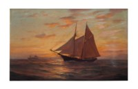 Seascape with sailboat at sunset
