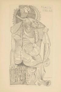 [PICASSO] – Robert DESNOS (1900-1945). Contrée. Paris: Robert J. Godet, 1944. In-4 (280 x 190 mm). Une eau-forte de Picasso placée en frontispice, signée et datée sur le cuivre «Picasso 23.D.43», et 23 vignettes dans le texte. Broché, couverture imprimée, recouverte de papier transparent gaufré.