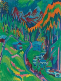 Sertigweg im Sommer, 1924 / verso: Fehmarnküste mit grünem Himmel 1913