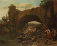 Figures under a bridge in an Italianate river landscape