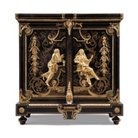 A FRENCH ORMOLU-MOUNTED, BRASS-INLAID TORTOISESHELL 'BOULLE' MARQUETRY AND EBONY SIDE CABINET, 'ARMOIRE A MEDAILLES'