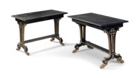 A PAIR OF BRASS-INLAID, PARCEL-GILT AND EBONISED CENTRE TABLES