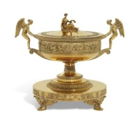 A FRENCH SILVER-GILT SOUP-TUREEN, COVER AND STAND