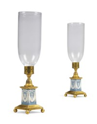A PAIR OF GEORGE III GILT-METAL-MOUNTED JASPERWARE CANDLESTICKS