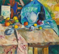 Still life with teapot and oranges