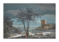 A winter landscape with peasants gathering wood and figures on ice near a round tour