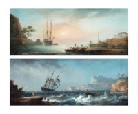 A peaceful anchorage in the Mediterranean at dawn; and A French merchantman and other shipping in stormy waters, a fortified town on the shore beyond