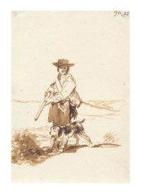 A hunter with his dog in a landscape