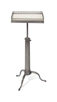 A BRUSHED METAL TELESCOPING TABLE