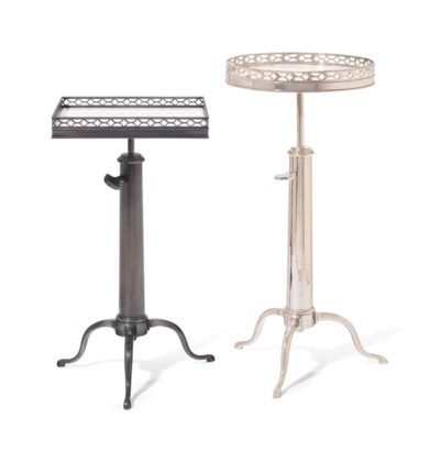 TWO METAL TELESCOPING TABLES