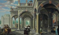 An architectural capriccio with figures promenading and boys arguing over a game of skittles