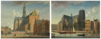 A view of the Grote Markt, Haarlem, from the northwest; and A view of the Sint-Laurenskerk, Rotterdam, from the northeast