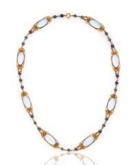 A MOONSTONE AND SAPPHIRE NECKLACE, BY LOUIS COMFORT TIFFANY, TIFFANY & CO.