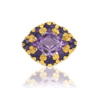 AN AMETHYST AND GOLD BROOCH, BY LOUIS COMFORT TIFFANY, TIFFANY & CO.
