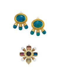 A GROUP OF MULTI-GEM AND GOLD JEWELRY, BY ELIZABETH GAGE