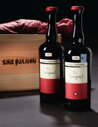 Sine Qua Non, The Inaugural, Eleven Confessions Vineyard, Grenache 2003  (1) Sine Qua Non, The Inaugural, Eleven Confessions Vineyard, Syrah 2003  (5) Above in original wooden case