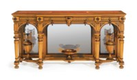 THE WILLIAM H. VANDERBILT NEO-GREC PARCEL-GILT AND ROSEWOOD-INLAID MAPLE CONSOLE TABLE