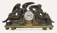 A PALATIAL FRENCH ORMOLU, PATINATED-BRONZE AND MARBLE MANTLE CLOCK