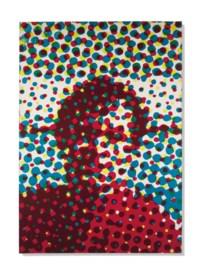 Portrait d'homme bleu, rouge, jaune