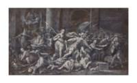 Scène de combat autour d'un autel de sacrifice