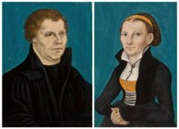 Portrait of Martin Luther (1483-1546), half-length; and Portrait of Katharina von Bora (1499-1552), half-length