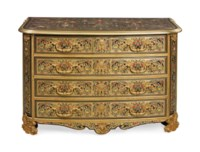 A LOUIS XIV ORMOLU-MOUNTED, BRASS, PEWTER, TORTOISESHELL, EBONY AND POLYCHROME-DECORATED STAINED-HORN BOULLE MARQUETRY COMMODE