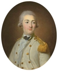 Portrait of a junior officer of the French Royal infantry, bust-length