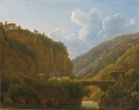 A mountainous river landscape with the Monastery of San Cosimato, to the north of Rome