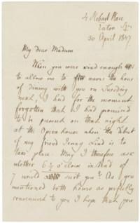 MENDELSSOHN BARTHOLDY, Felix (1809-1847). Autograph letter signed ('Felix Mendelssohn Bartholdy') to a female correspondent ('My dear Madam'), 4 Hobart Place, Eaton Square, [London], 30 April 1847.
