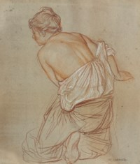 Study of a partially draped woman, seen from behind