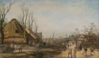 Winter landscape with a farmhouse, skaters and kolf players on a frozen stream