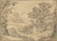 Pan and Syrinx in a wooded lake landscape