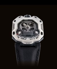 URWERK. A RARE AND UNUSUAL TITANIUM AND STAINLESS STEEL LIMITED EDITION SHIELD-SHAPED WRISTWATCH WITH WANDERING HOUR DISPLAY, TWIN TURBINE SYSTEM AND POWER RESERVE INDICATION