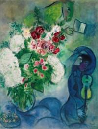 Bouquet blanc aux nuages ou L'âne lisant ou Le livre et l'âne ou Musicien aux fleurs et aux fruits