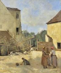 Trois paysannes causant dans une cour rustique