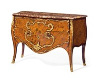 A LOUIS XV ORMOLU-MOUNTED TULIPWOOD, AMARANTH AND FRUITWOOD MARQUETRY COMMODE