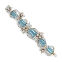 AN AQUAMARINE AND DIAMOND 'LEAVES AND FLOWERS' BRACELET, BY JEAN SCHLUMBERGER, TIFFANY & CO.