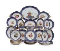 A SPODE PORCELAIN BLUE-GROUND PART DINNER AND DESSERT SERVICE