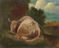 Liegende Kuh vor Seeuferlandschaft