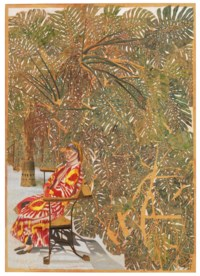 Femme assise manteau rouge parmi les philodendrons (Seated Woman in Red Coat Among the Philodendrons)