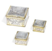 A SET OF THREE GERMAN PARCEL-GILT SILVER TOILET BOXES