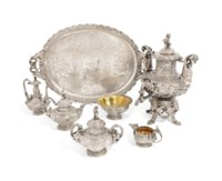 A LOUIS-PHILIPPE SILVER SIX-PIECE TEA AND COFFEE SERVICE WITH TRAY EN SUITE