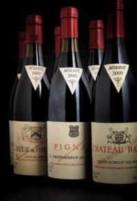 Pignan, Châteauneuf-du-Pape 1985 Slightly bin-soiled label. Level: 4cms  (1) 1989 Slightly bin-soiled label. Levels: 4cms  (2) 1990 Good appearance  (1) 1995 Good appearance. Level: 2cms  (1) 1996 Slightly bin-soiled label. Level: 3cms  (1) 2001 Slightly bin-soiled label. Level: 2cms  (1) 2005 Good appearance. Levels: 2cms  (2) 2007 Good appearance. Levels: 1cm  (2) 2009 Slightly bin-soiled label. Level: 1cm  (1)