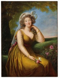Portrait of Madame du Barry (1743-1793), three-quarter-length, seated in a landscape