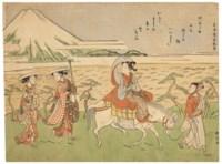 Allusive picture (mitate-e) representing Ariwara no Narihira's journey to the east