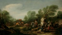 A military skirmish in a wooded landscape