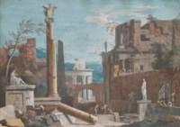 Caprice architectural avec temples et deux colonnes corinthiennes au premier plan dont l'une cassée